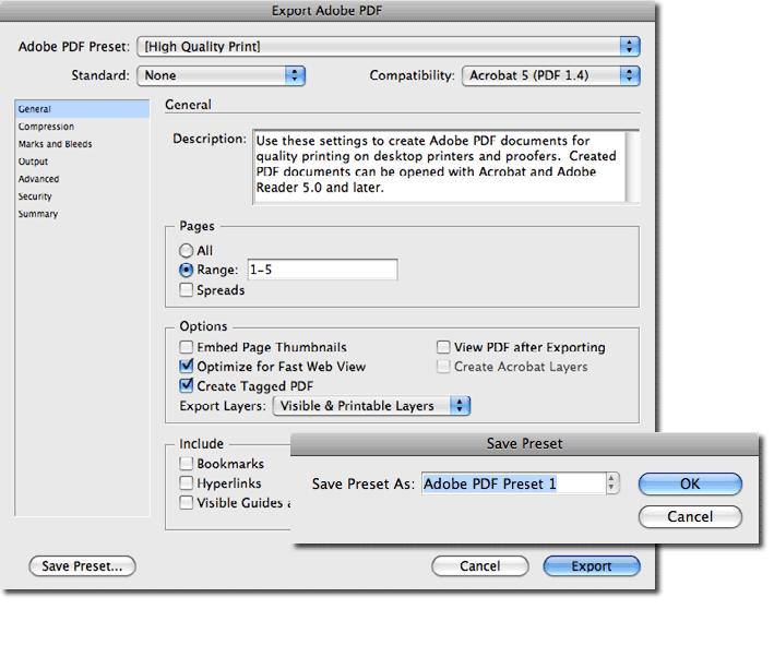 Создание нового PDF-Preset-a