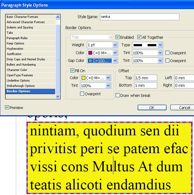 Задание параметров рамки и результат применения к тексту
