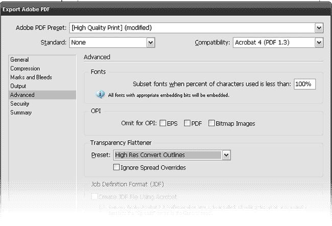 Диалоговое окно экспорта в PDF