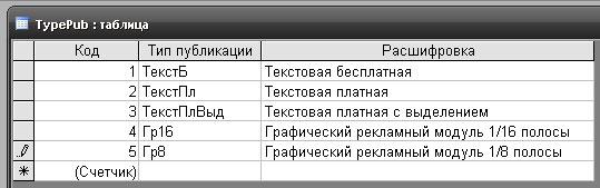 Рис. 8. Пример заполнения таблицы Список публикаций