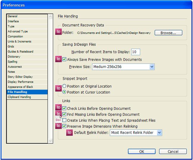 Вкладка File Handling