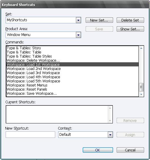 Создание клавиатурного сокращения для рабочего пространства
